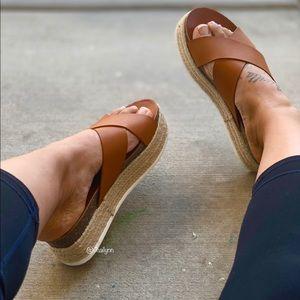Cognac crisscross espadrille Sandal